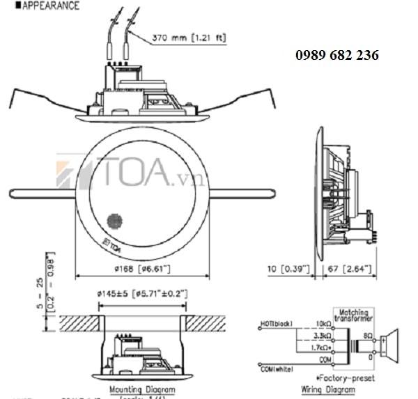 Bản thiết kế của Loa âm trần TOA PC 648R