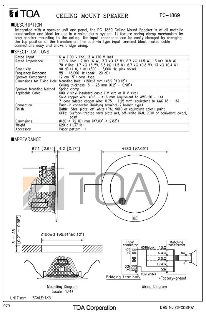 Catalog sản phẩm Loa TOA PC-1869 do nhà sản xuất cung cấp